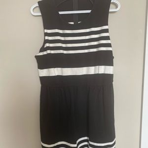 J Crew fit and flare black and white dress